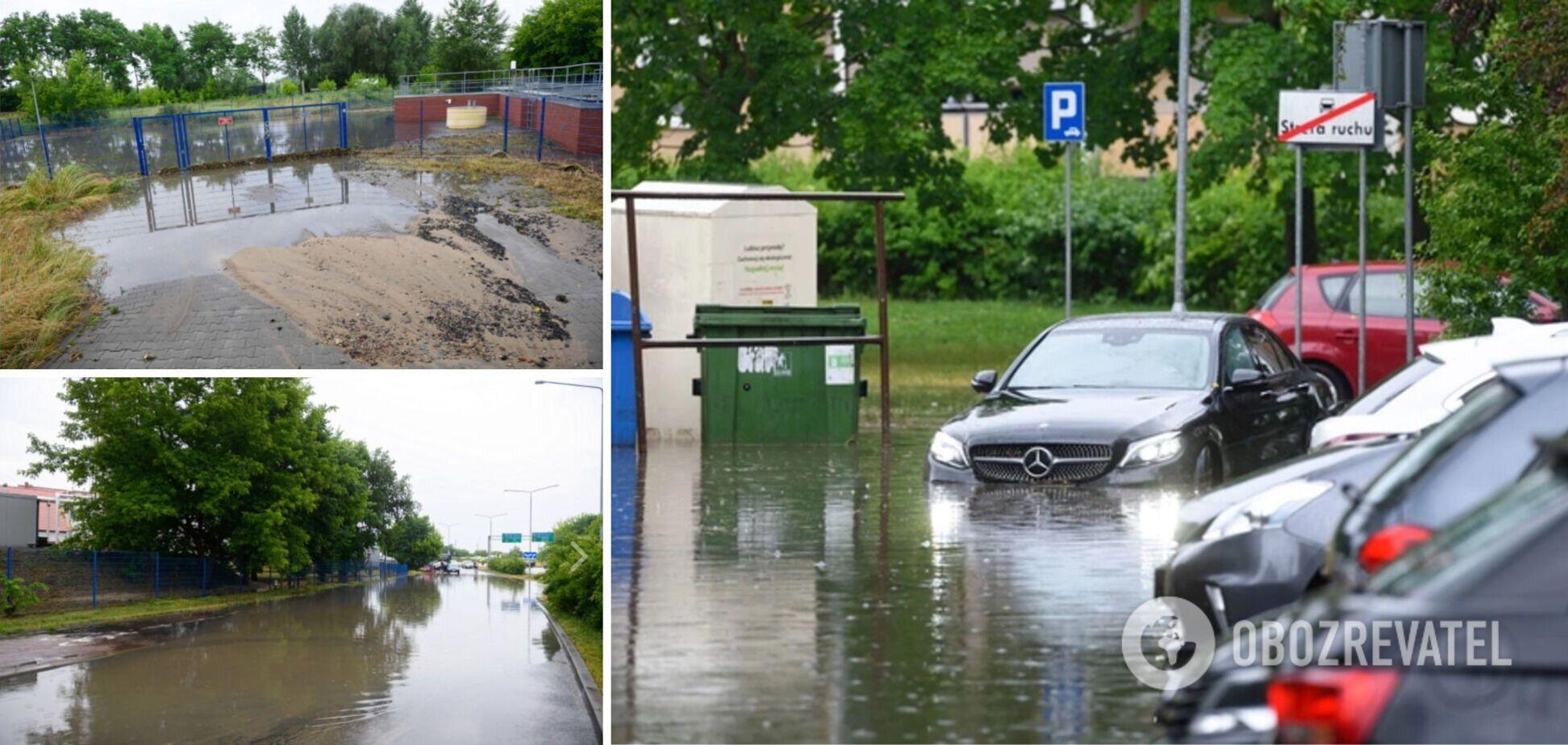 У Польщі потужна злива затопила вулиці міст, вітер зривав дахи. Фото і відео