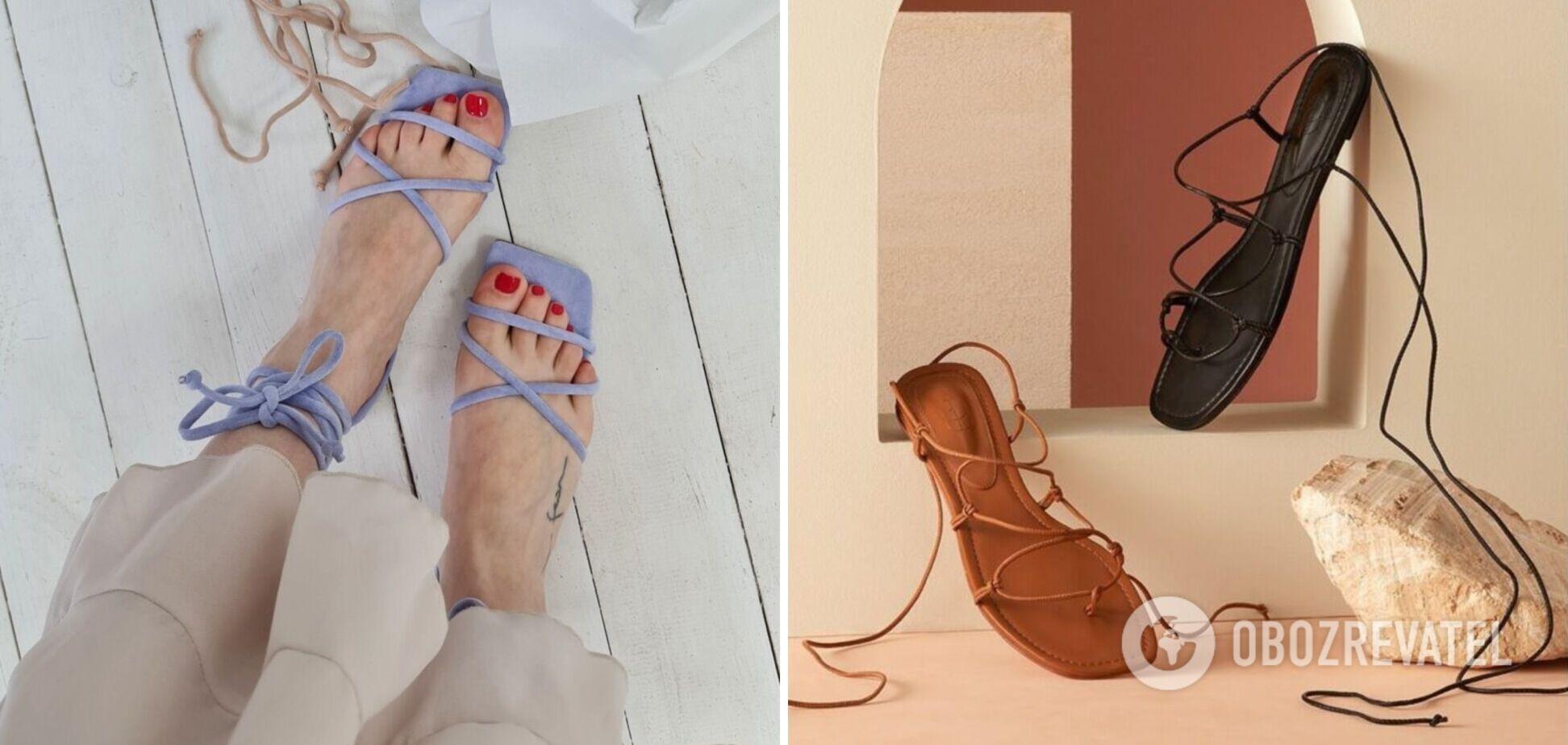 Модные сандалии на завязках на лето 2021