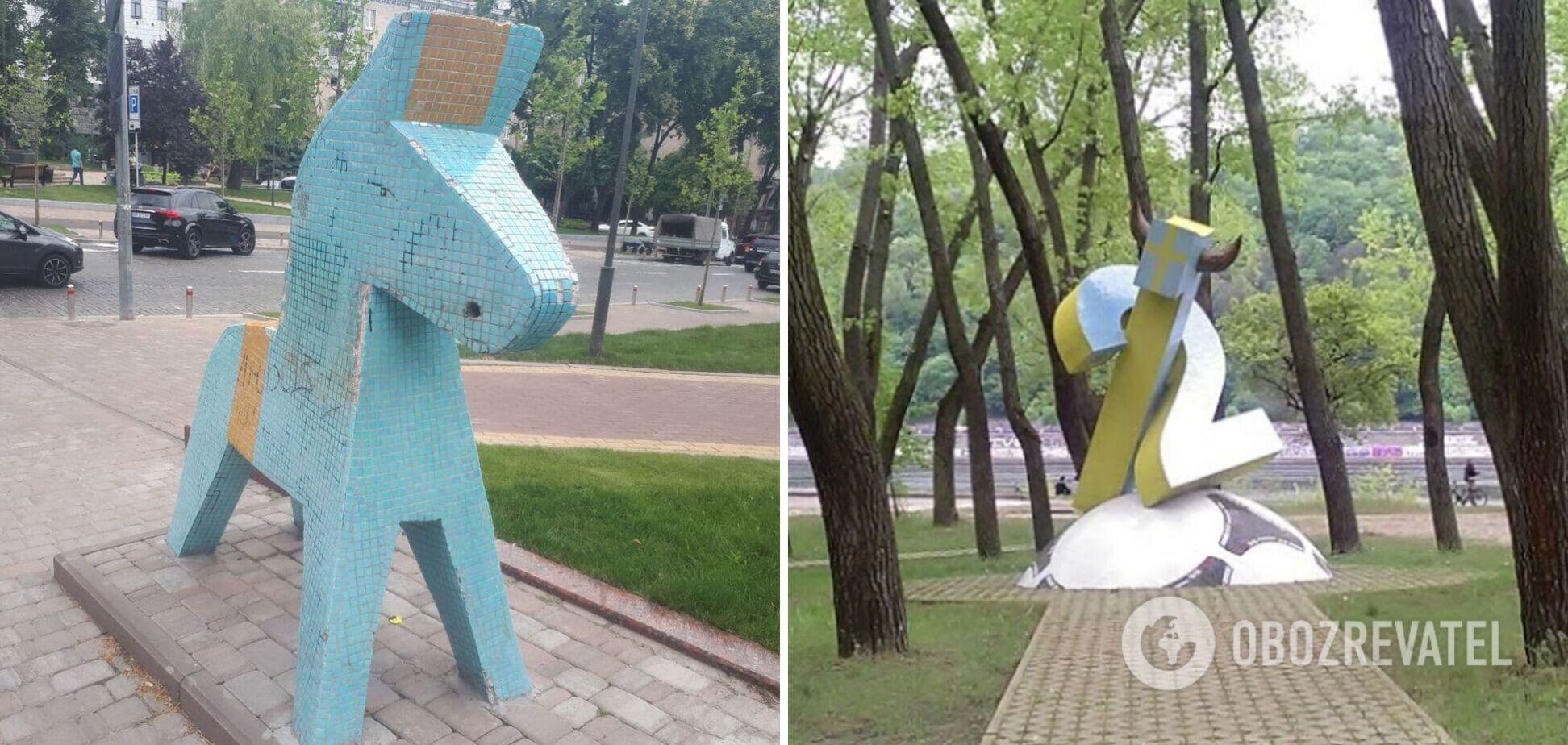 ''Любов'' в Києві: в мережі показали, як під час Євро-2020 виглядають пам'ятники фанатам збірної Швеції. Фото