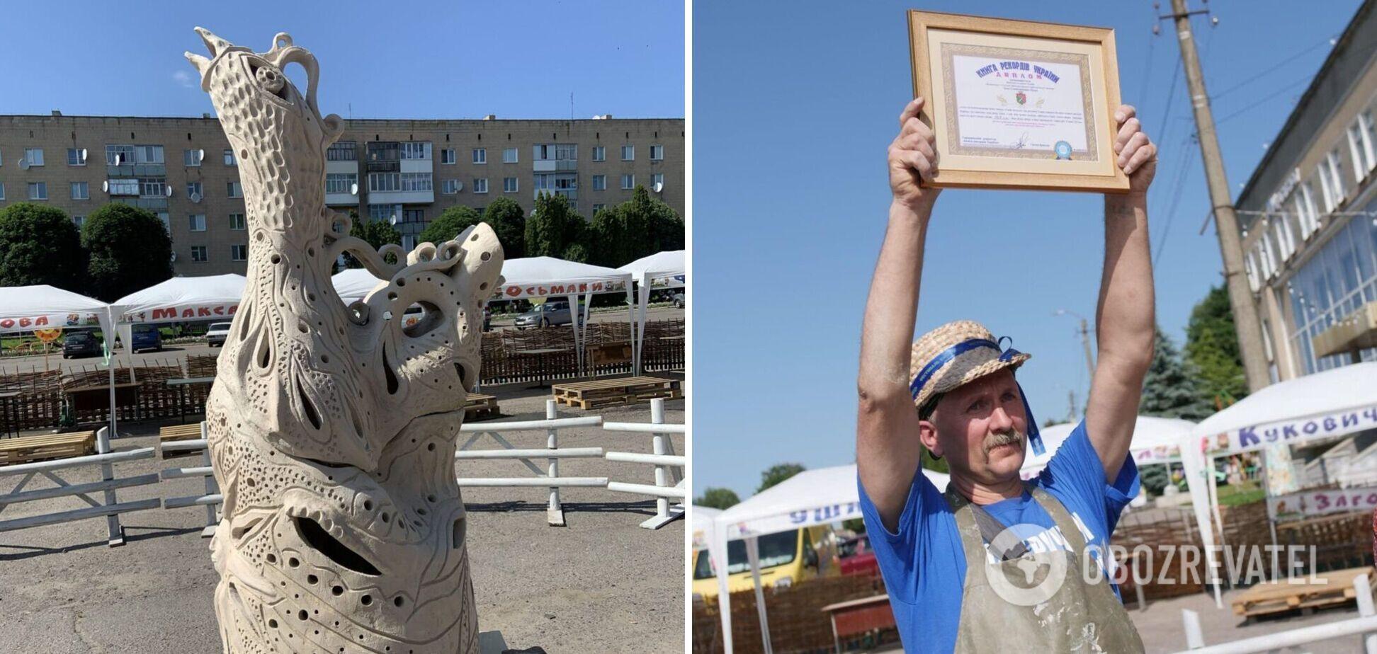 В Україні майстер створив глиняний свищик висотою 1,6 м і встановив рекорд. Фото