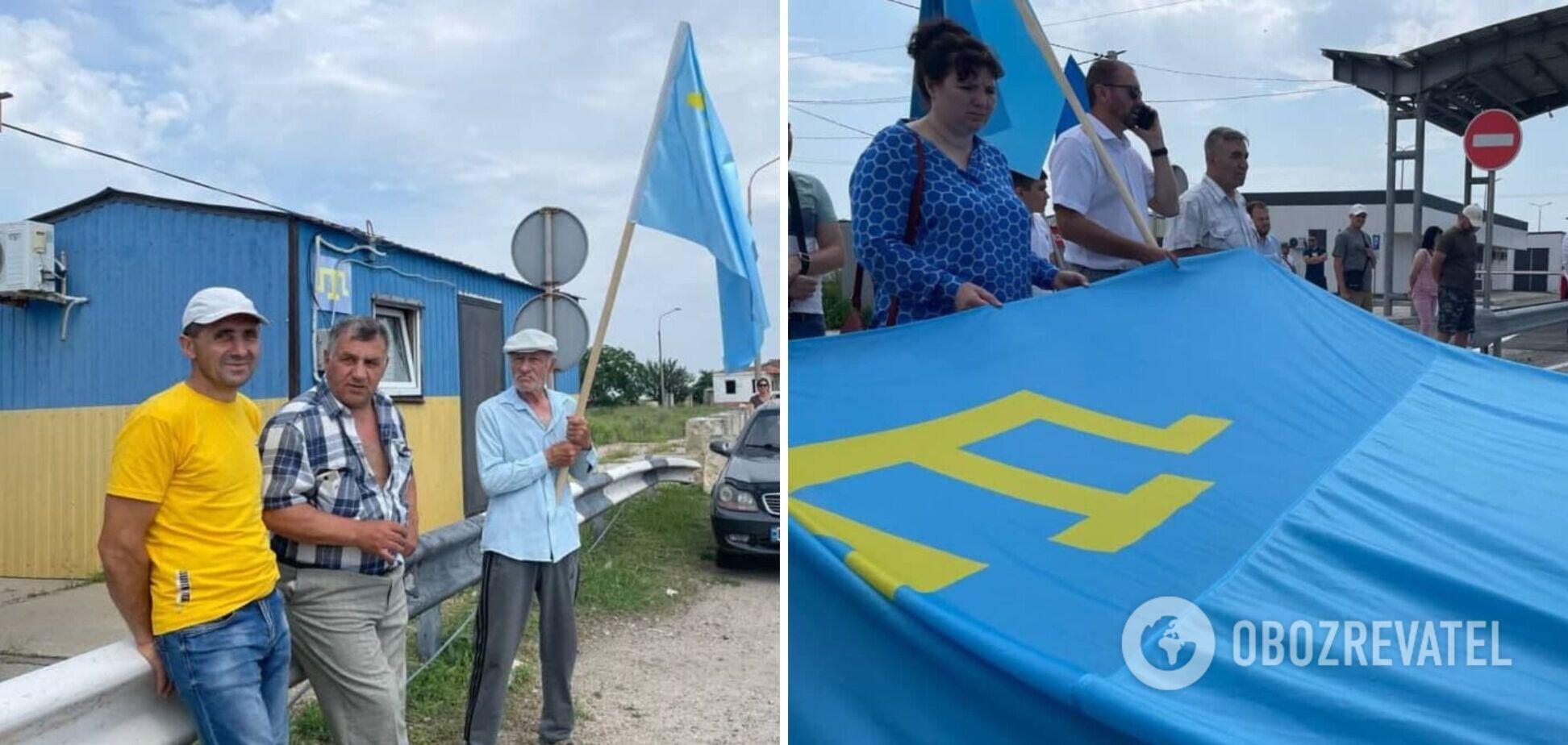 Украинцы в День крымскотатарского флага устроили яркую акцию на КПВВ 'Чонгар'. Фото