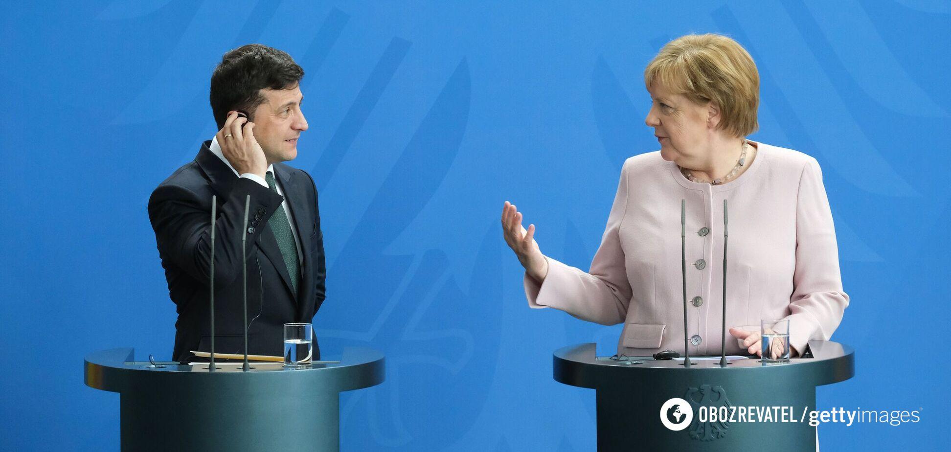 Президент України Володимир Зеленський і канцлер Німеччини Ангела Меркель