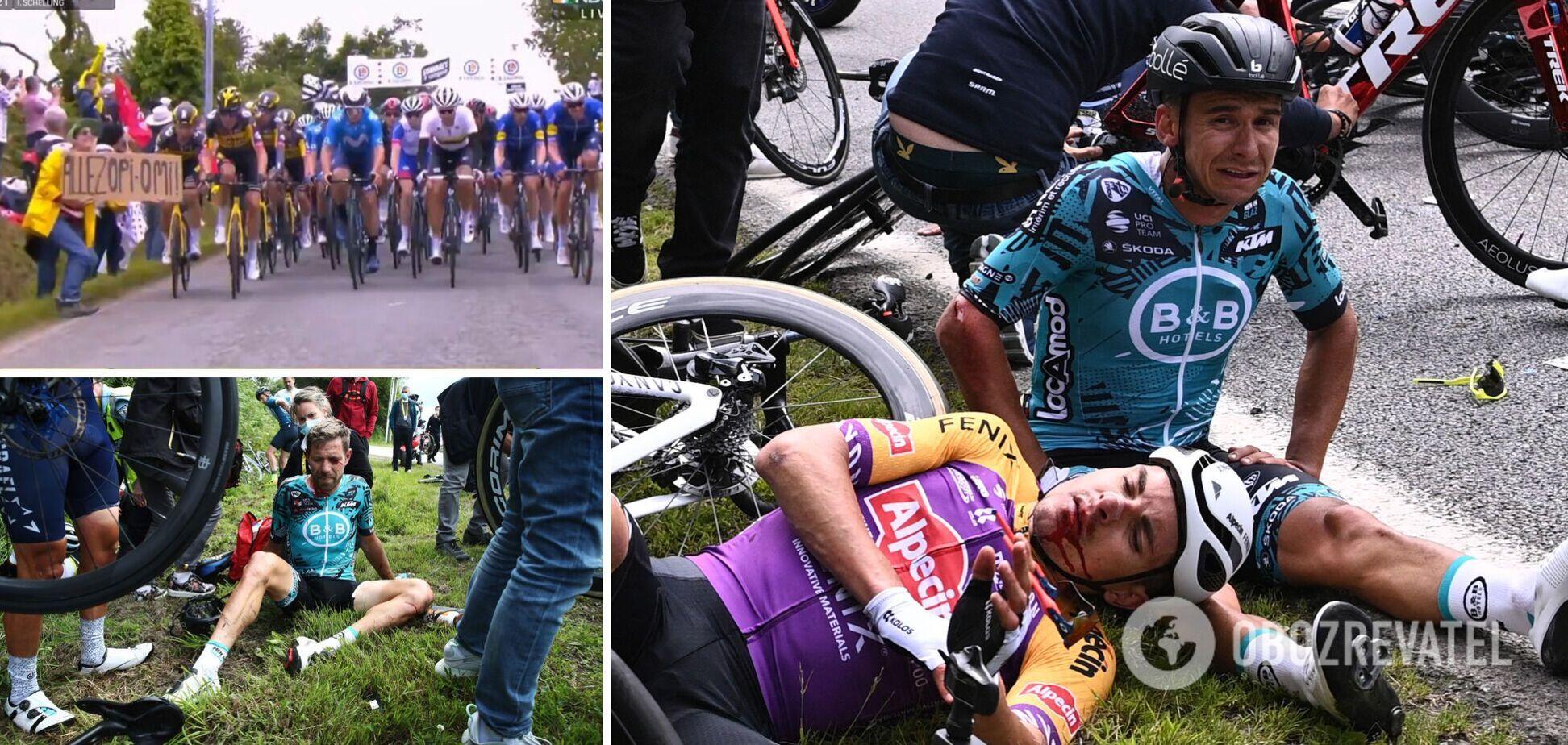 Фанатка сбила велосипедистов