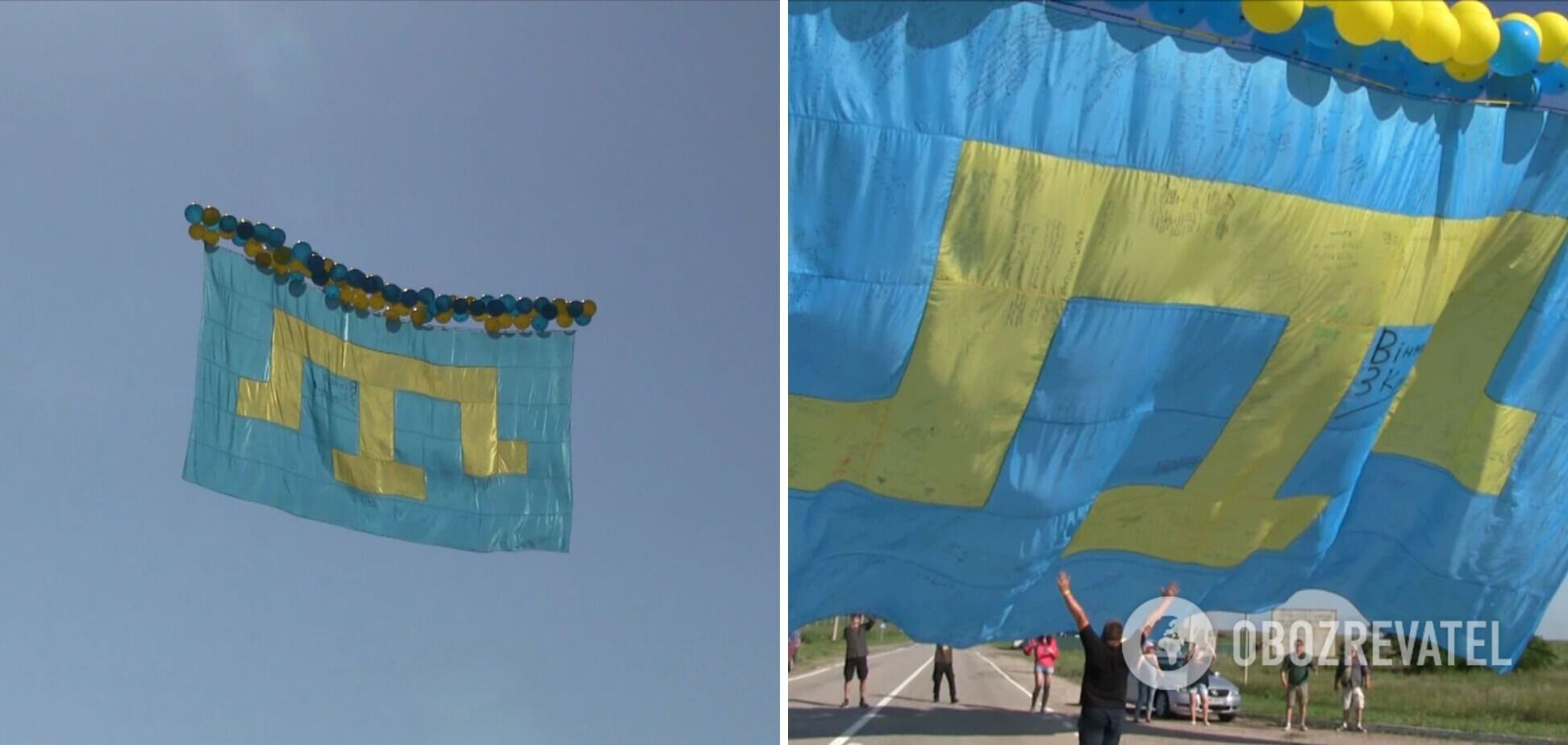 Над оккупированным Крымом запустили огромный крымскотатарский флаг. Фото