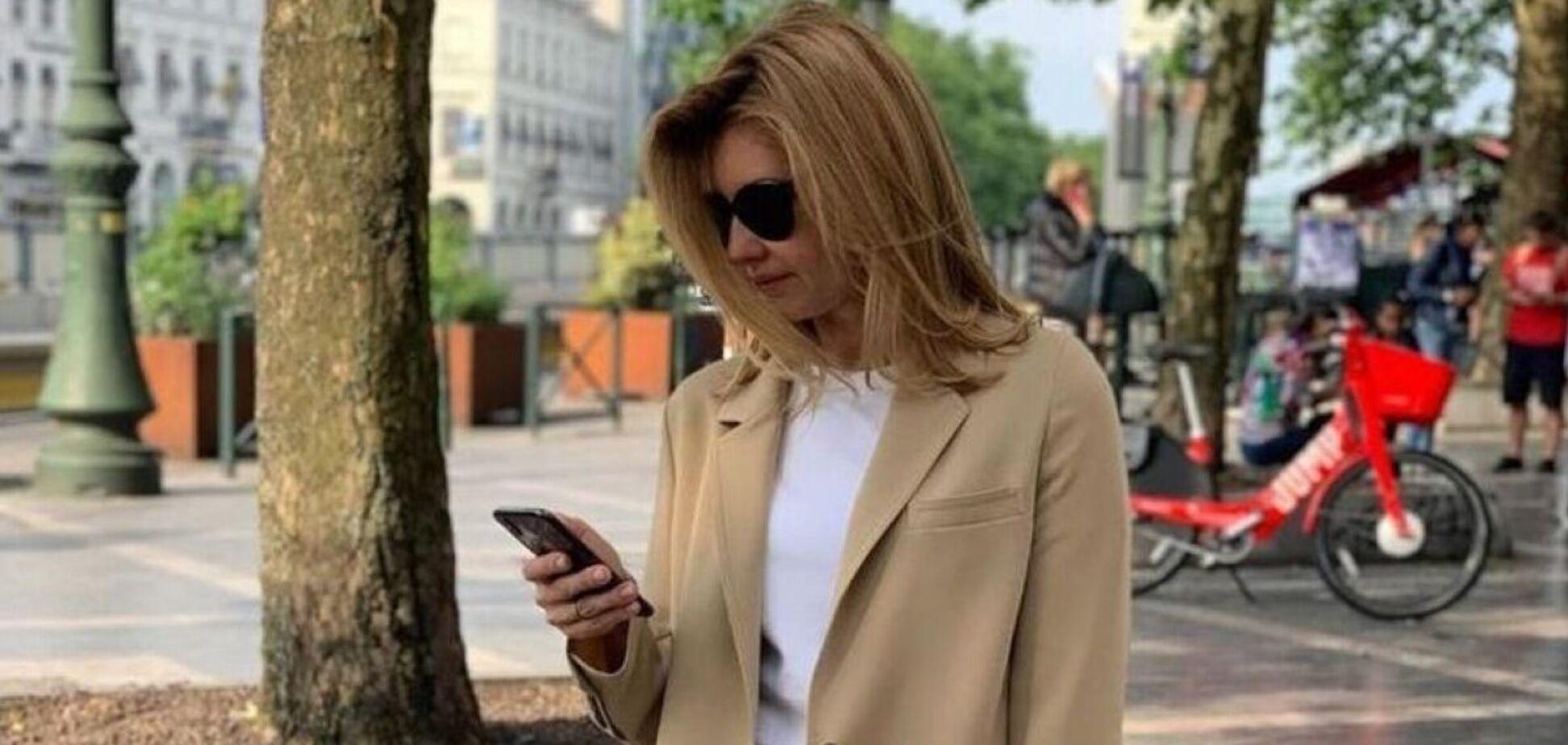 Олена Зеленська прийшла на зустріч у стильному бежевому костюмі. Фото