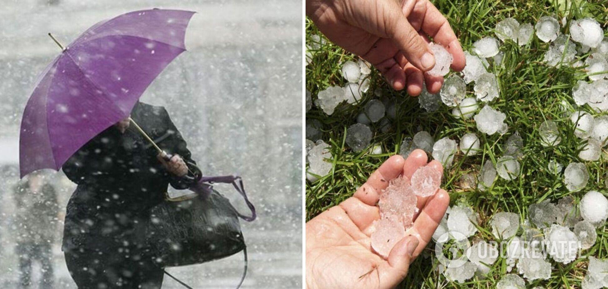 На Харьков обрушился мощный ливень, а на Запорожье град. Видео