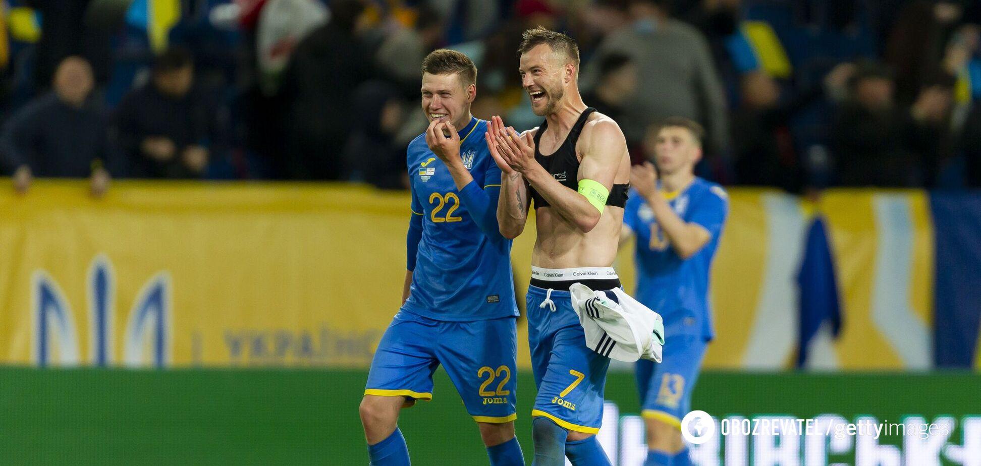 Игроки сборной Украины после матча