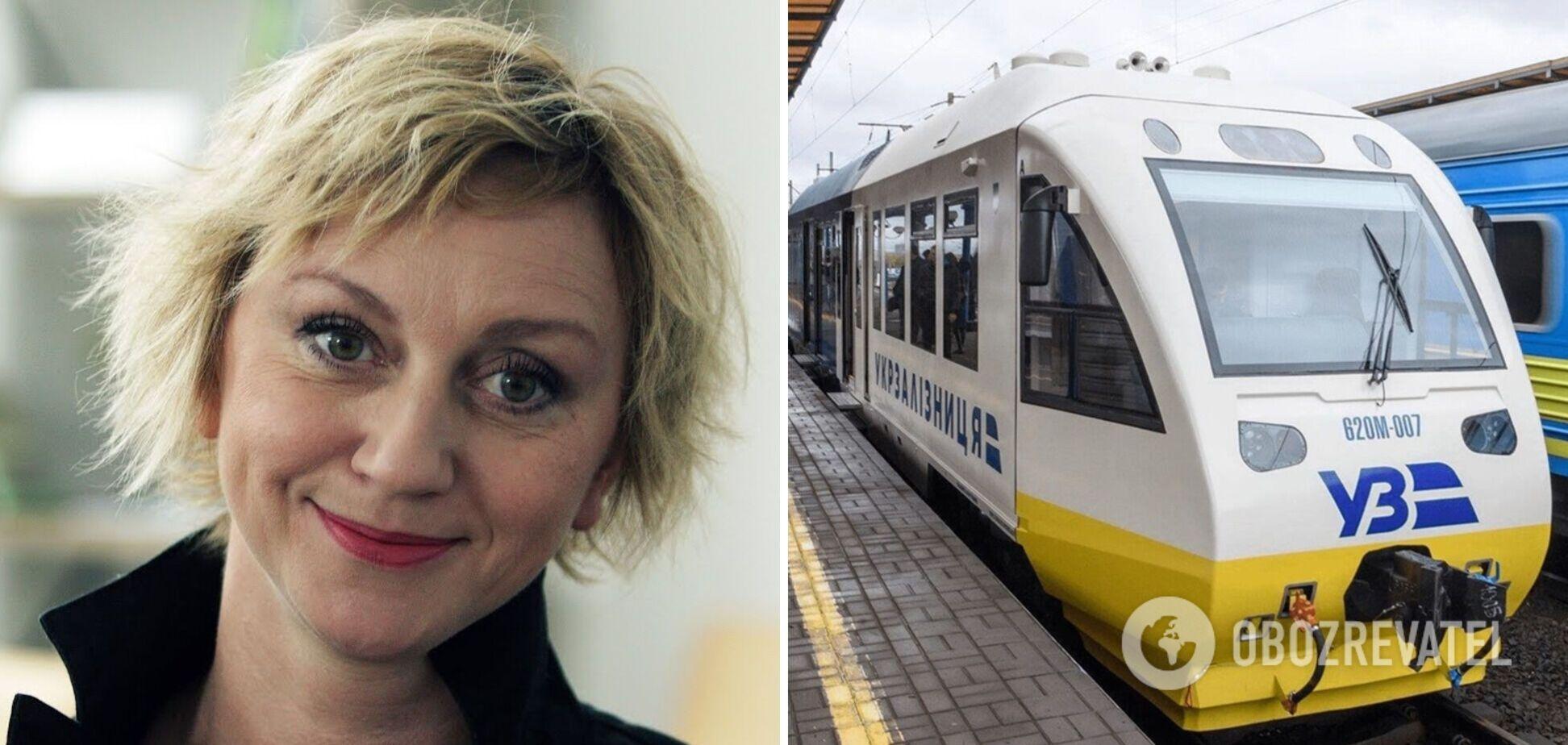 Українську актрису розлютив поїзд 'Укрзалізниці', вона записала відео