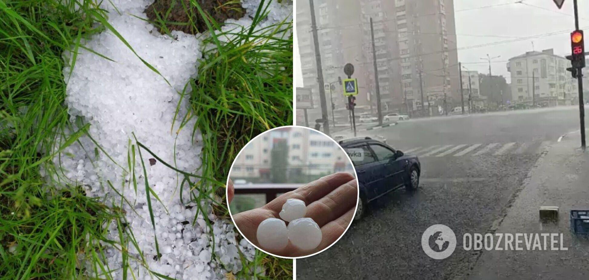 На Харьков и Черновцы обрушился мощный ливень с градом. Фото и видео