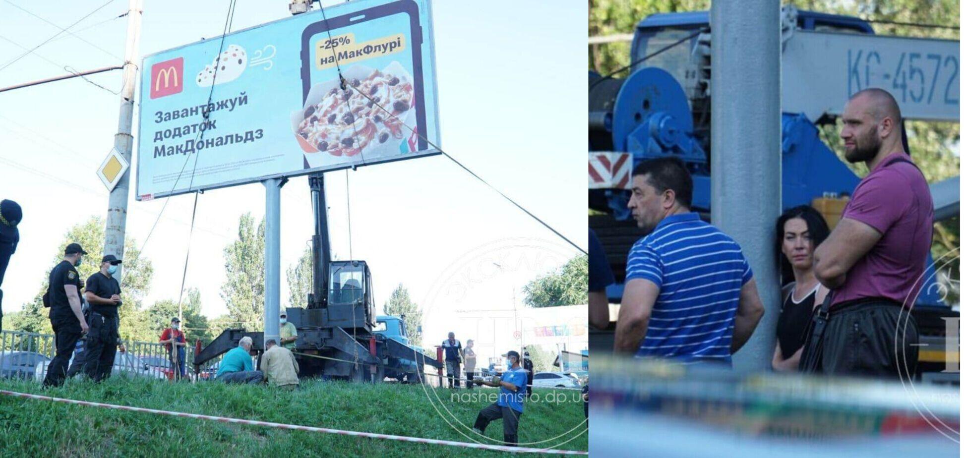 У Дніпрі люди Загіда Краснова заважали демонтувати аварійні білборди
