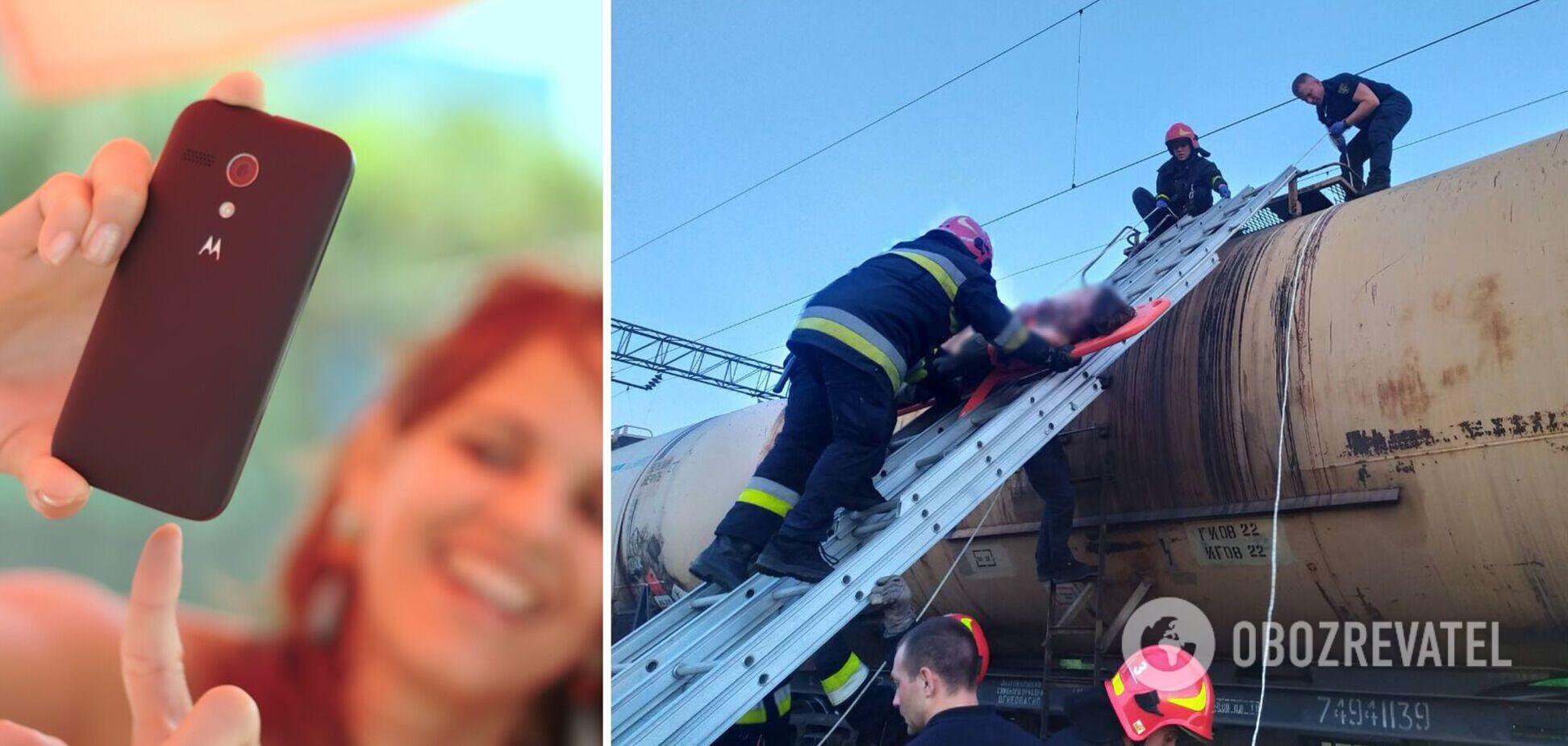 Во Львове девушка получила удар током, пытаясь сделать селфи на поезде. Фото и видео