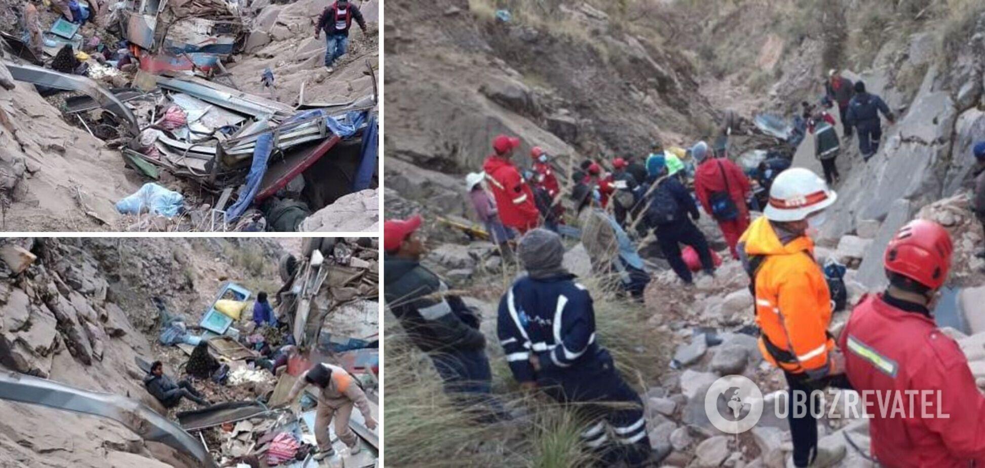 У Болівії пасажирський автобус впав у 150-метрову ущелину, щонайменше 31 загиблий. Фото з місця трагедії