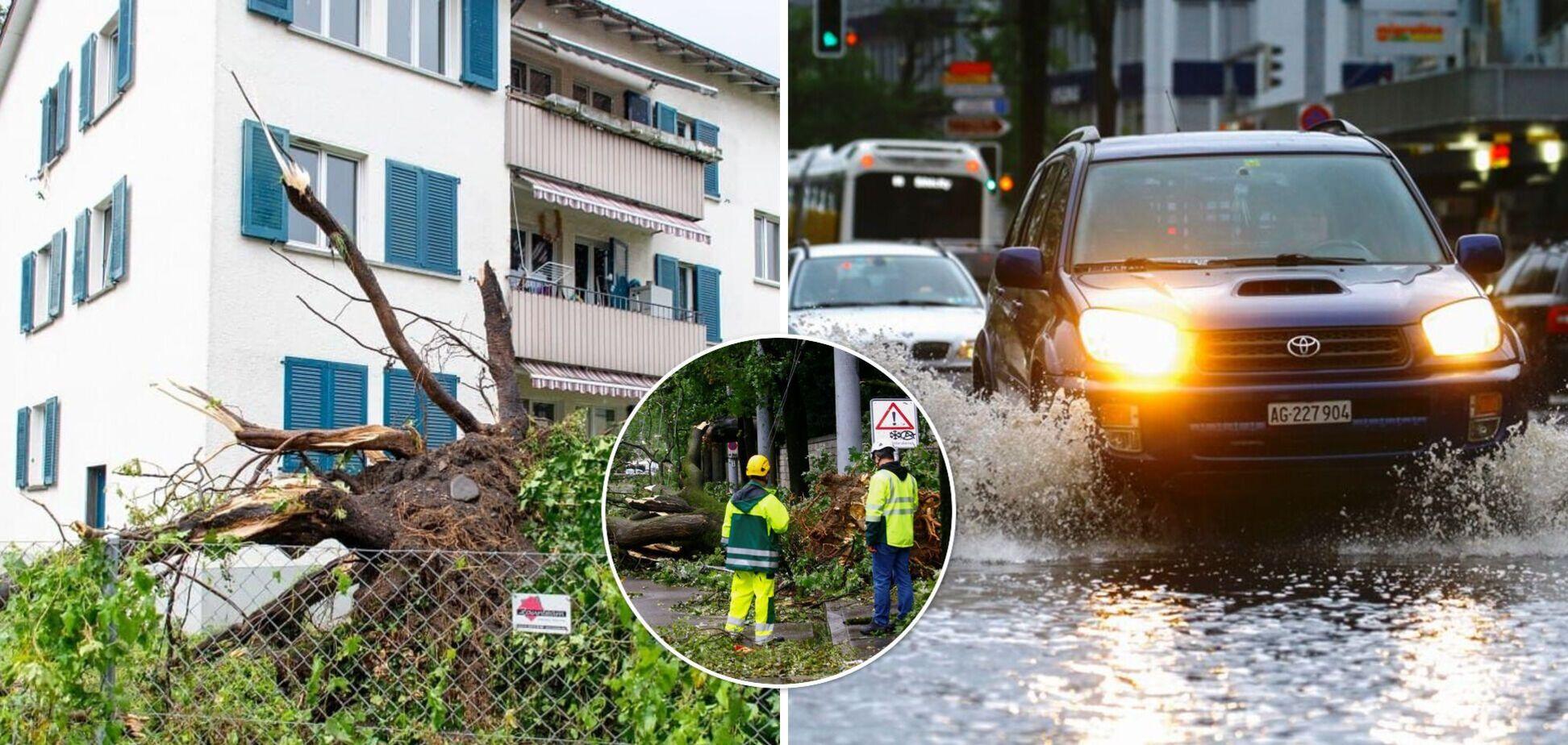 Цюрих накрила потужна злива, ураганний вітер трощив дерева та авто. Фото і відео