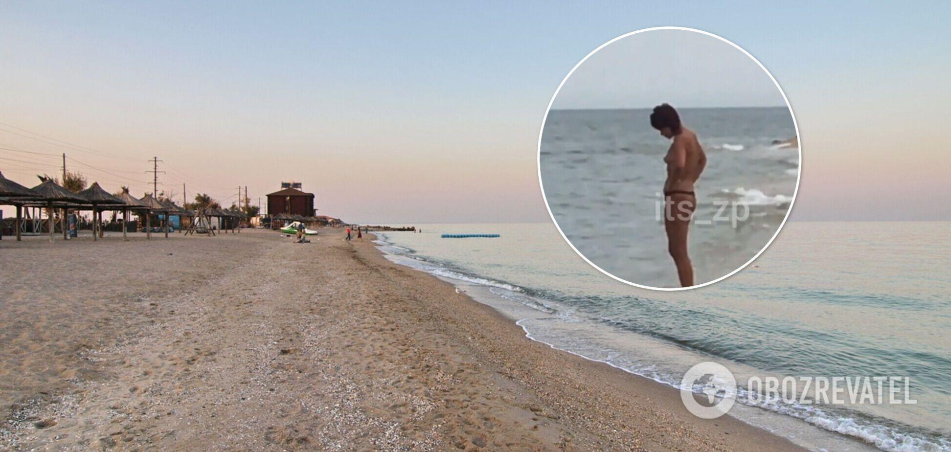 Вихід нудистки на громадський пляж Бердянська неприємно здивував відпочивальників. Відео