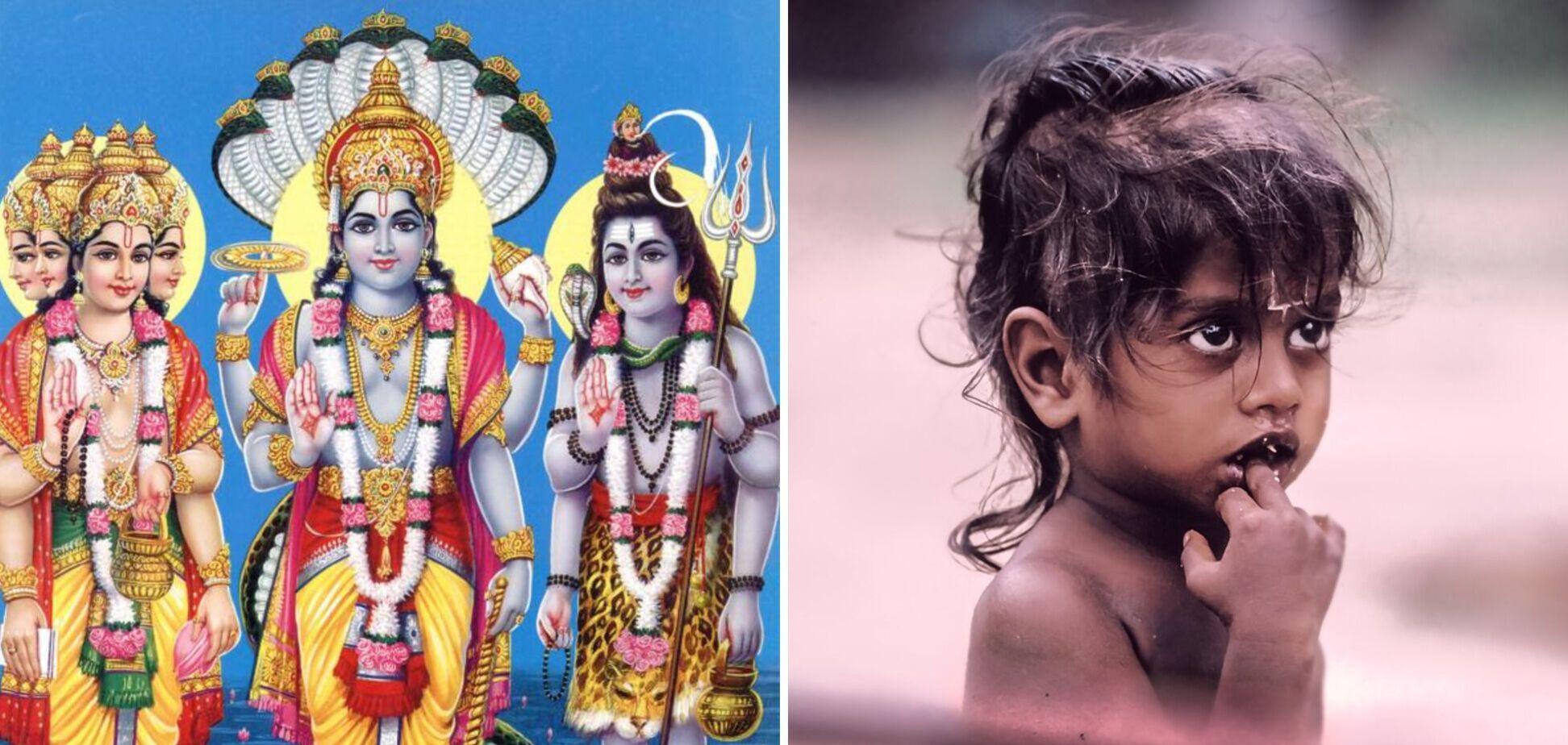 В Індії народилося триголове немовля, паломники кинулися до нього, прийнявши за бога. Фото 18+