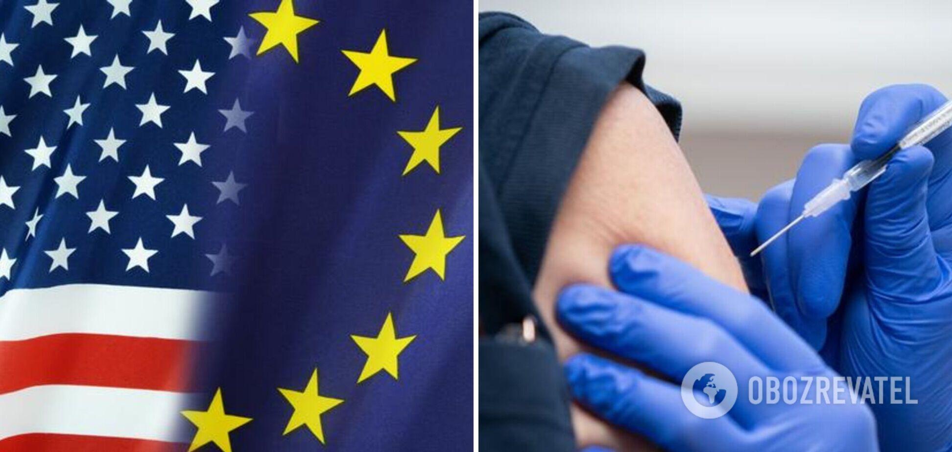 ЕС опередил США по количеству привитых от COVID-19 первой дозой