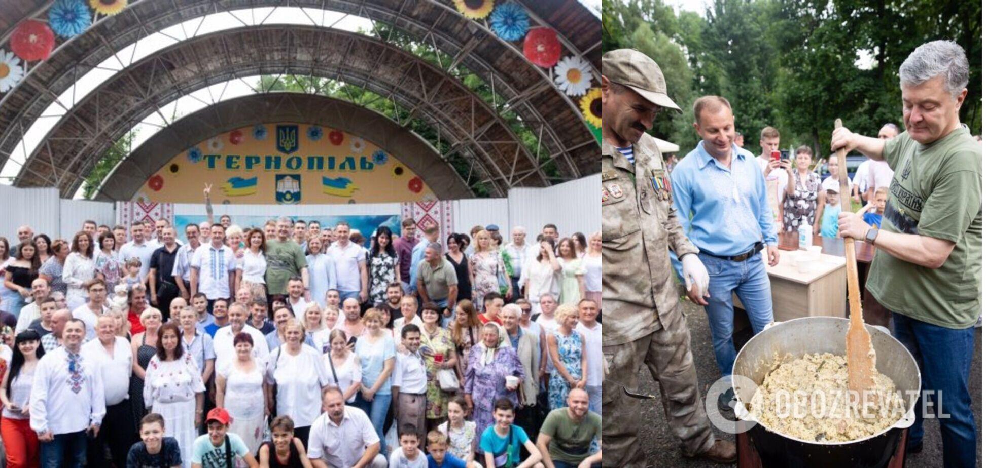 Порошенко в Тернополе на патриотическом Кулиш-фесте подарили футболку с особым содержанием. Фото