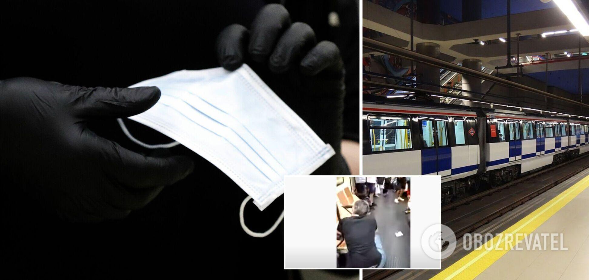 В Іспанії в метро медику вибили око через зауваження про відсутність маски. Відео