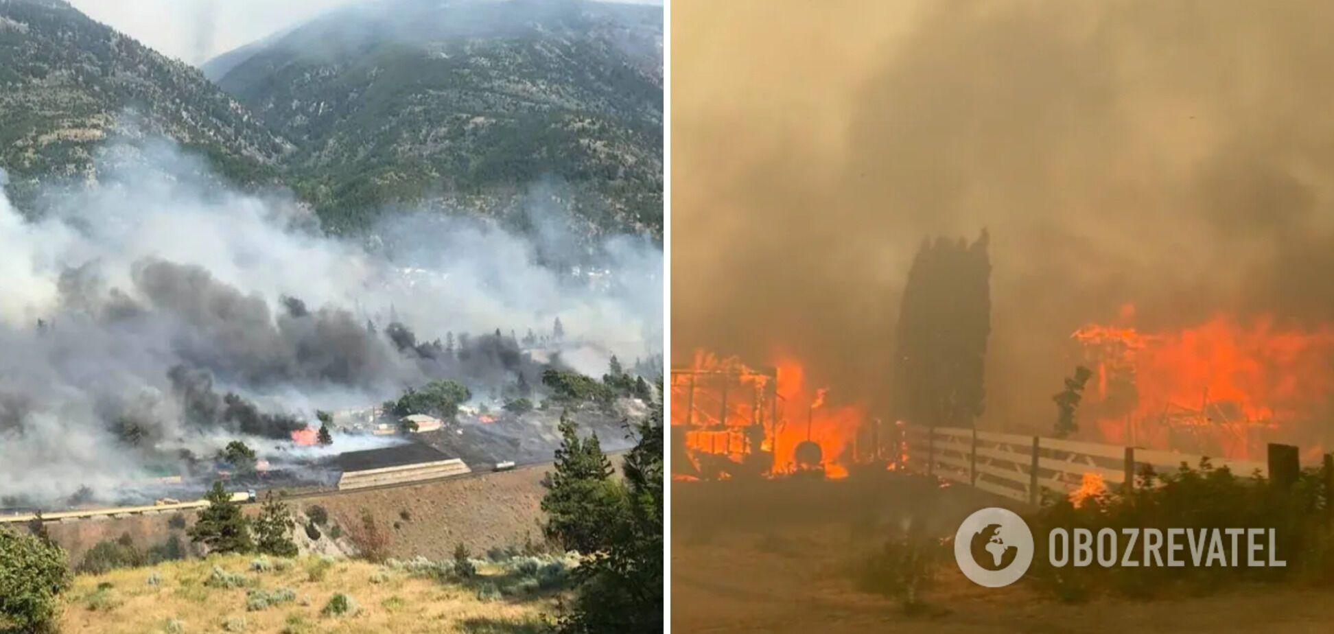 В Канаде в лесном пожаре сгорел поселок. Фото и видео
