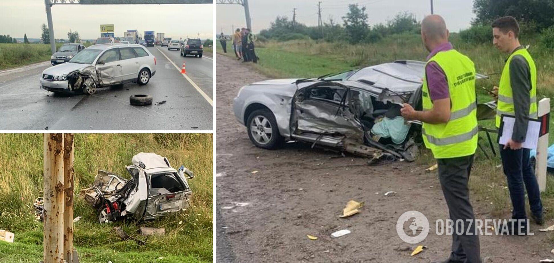 На Львівщині у потрійній ДТП загинула 2-річна дівчинка, ще двоє дітей у лікарні. Фото з місця трагедії