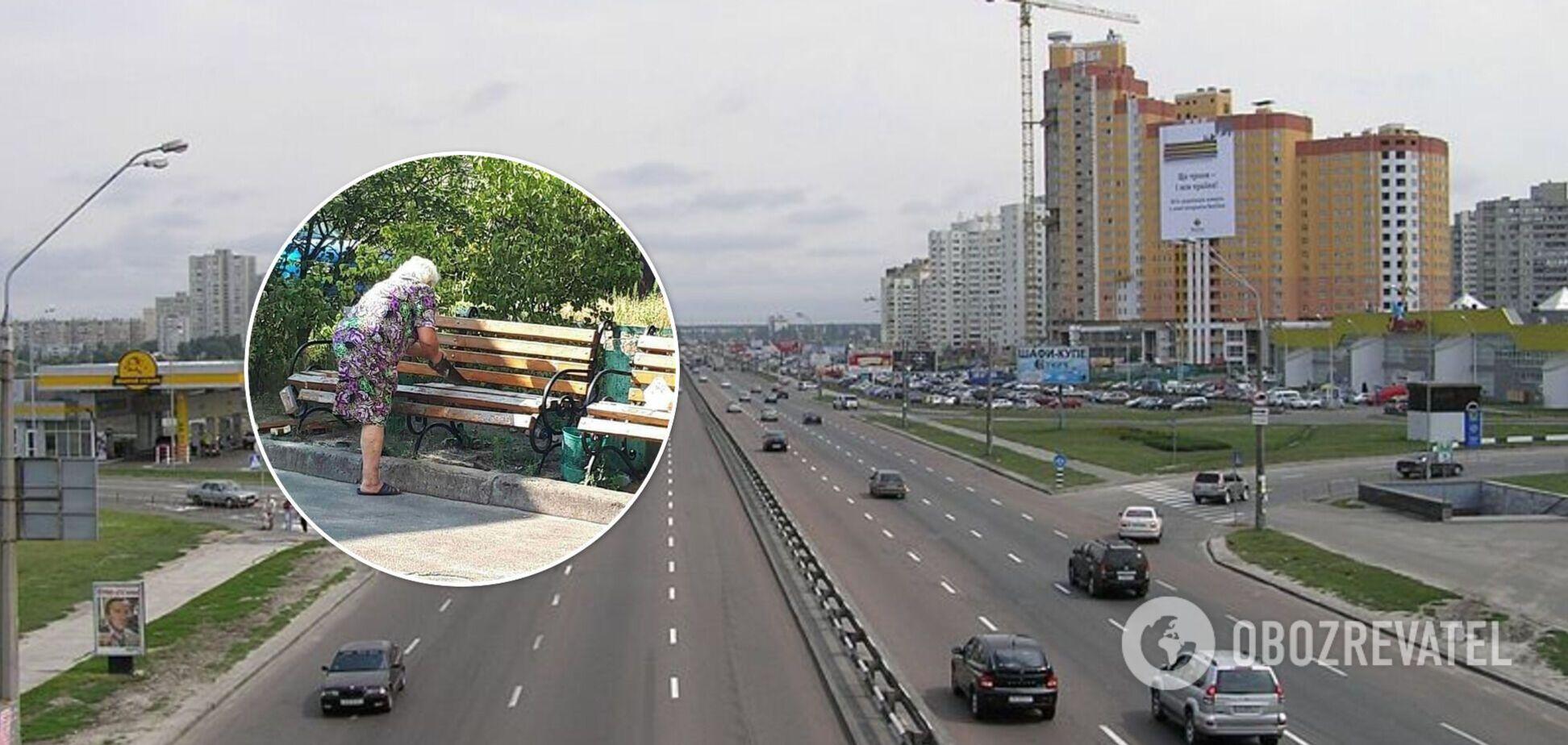 В Киеве бабушка распилила скамейку: причиной назвали шумные компании. Фото