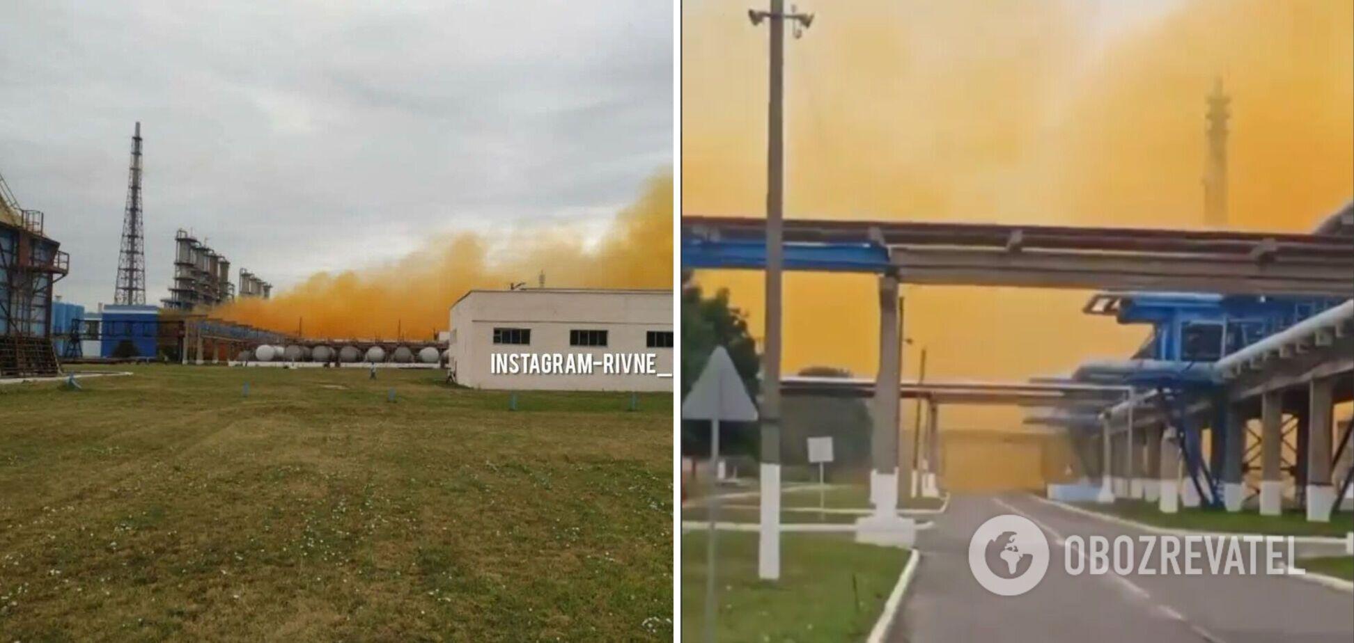 У Рівному на хімзаводі Фірташа стався вибух, у небі повисла помаранчева хмара. Фото і відео НП