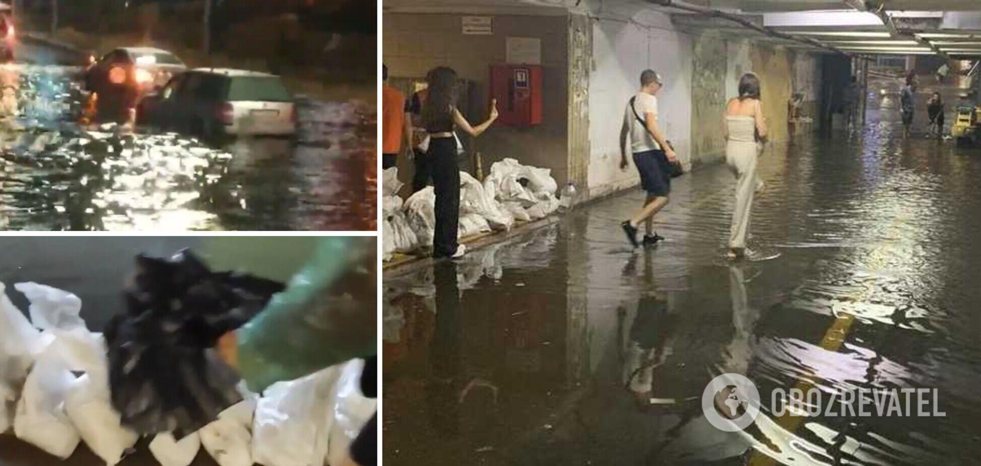 Киев снова затопило из-за непогоды: в метро делали заграждения из мешков с песком. Фото и видео