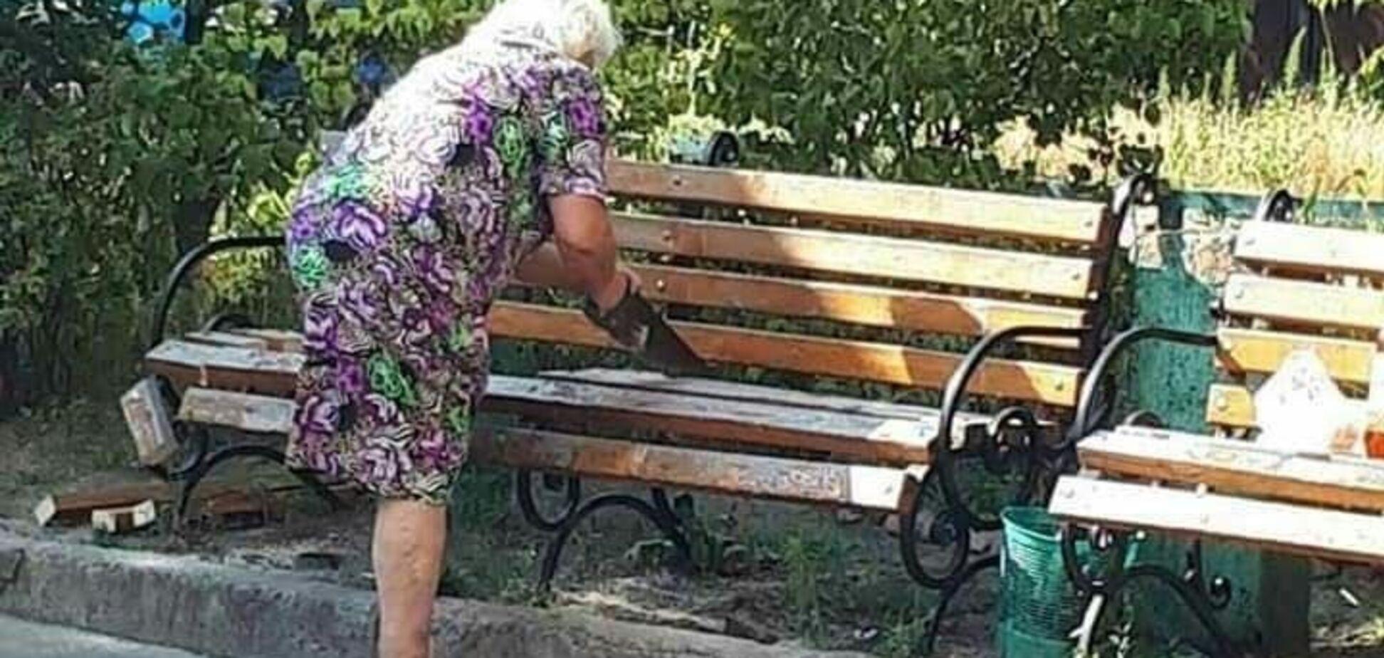 Лавочку, яку розпиляла пенсіонерка в Києві, можуть повернути: названо умову