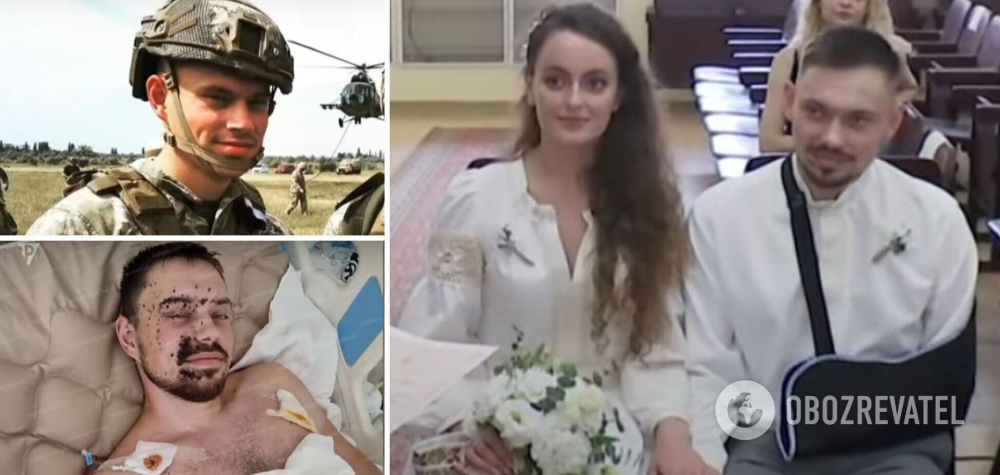 Посічений осколками розвідник одружився у військовому шпиталі з дівчиною з Донбасу. Відео весілля