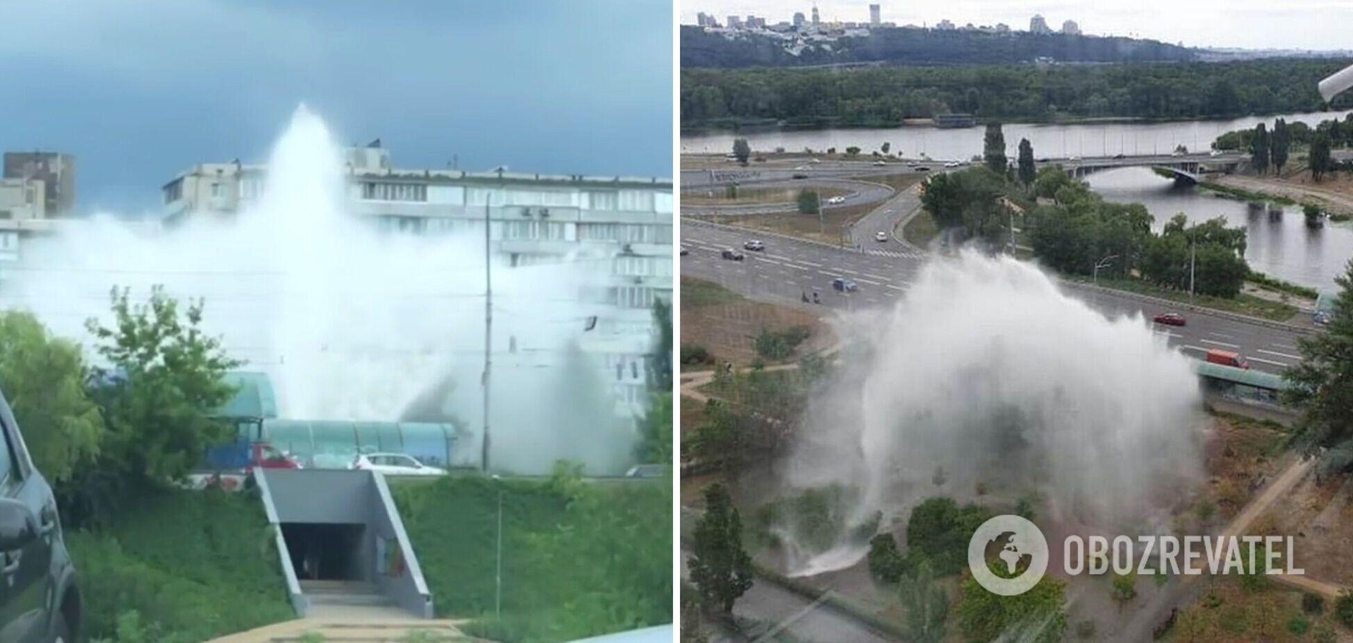 У Києві на Березняках з'явився новий 10-метровий 'фонтан'. Відео масштабного прориву