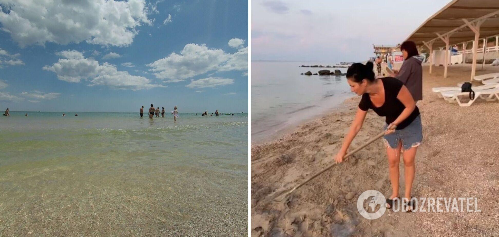 Побережье Кирилловки укрыто медузами: туристы берут на пляж лопаты. Фото