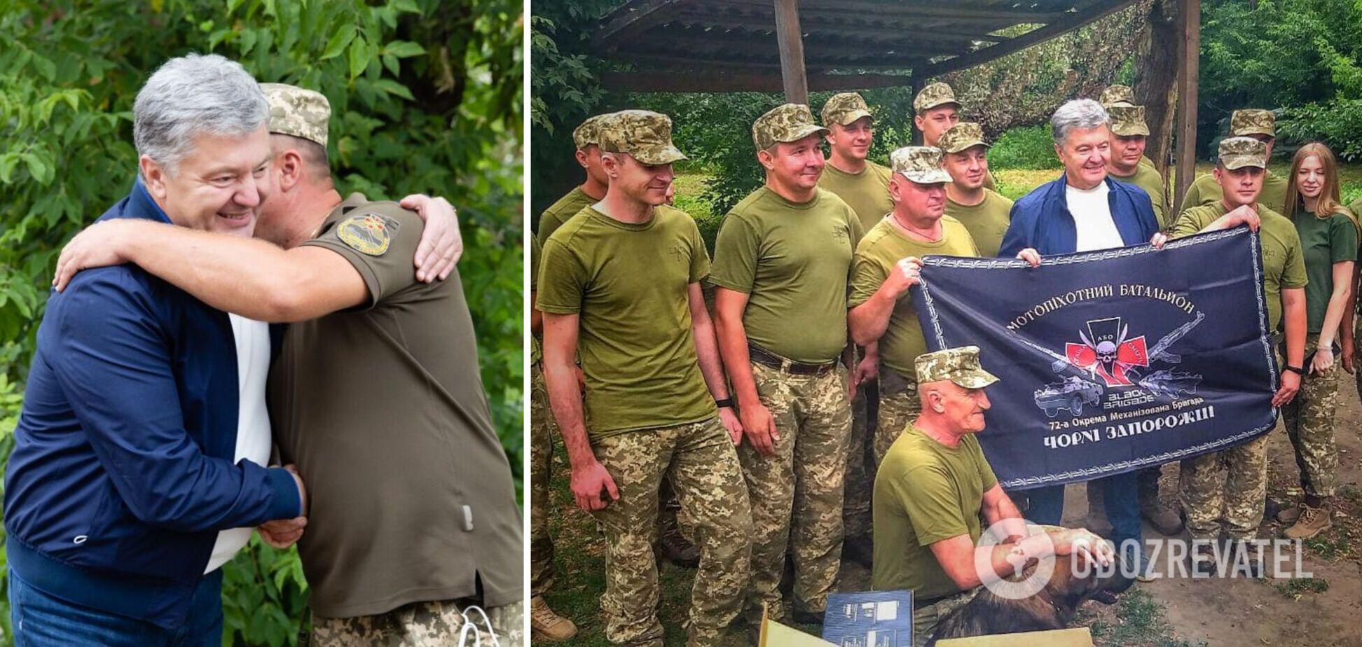 Порошенко привез в Авдеевку комплект видеоразведки для бригады Черных Запорожцев. Фото