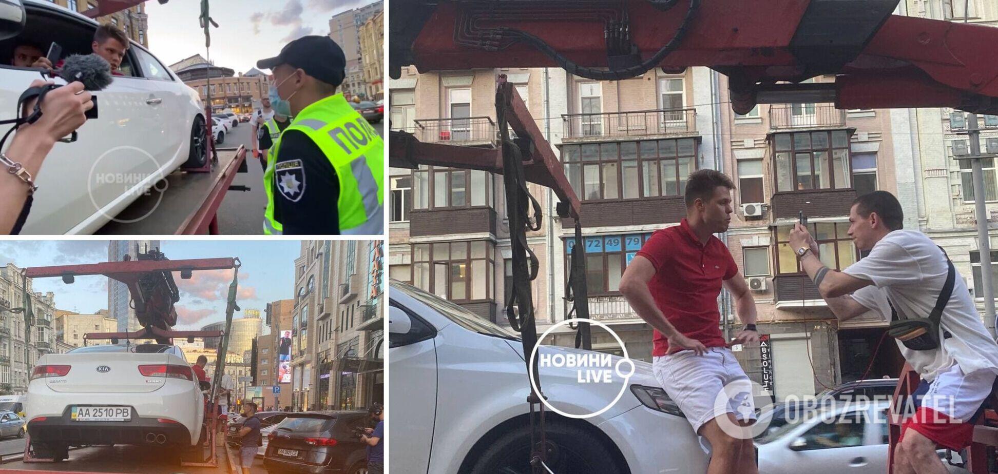 В Киеве блогер 5 часов спорил с полицией из-за эвакуации авто. Фото и видео