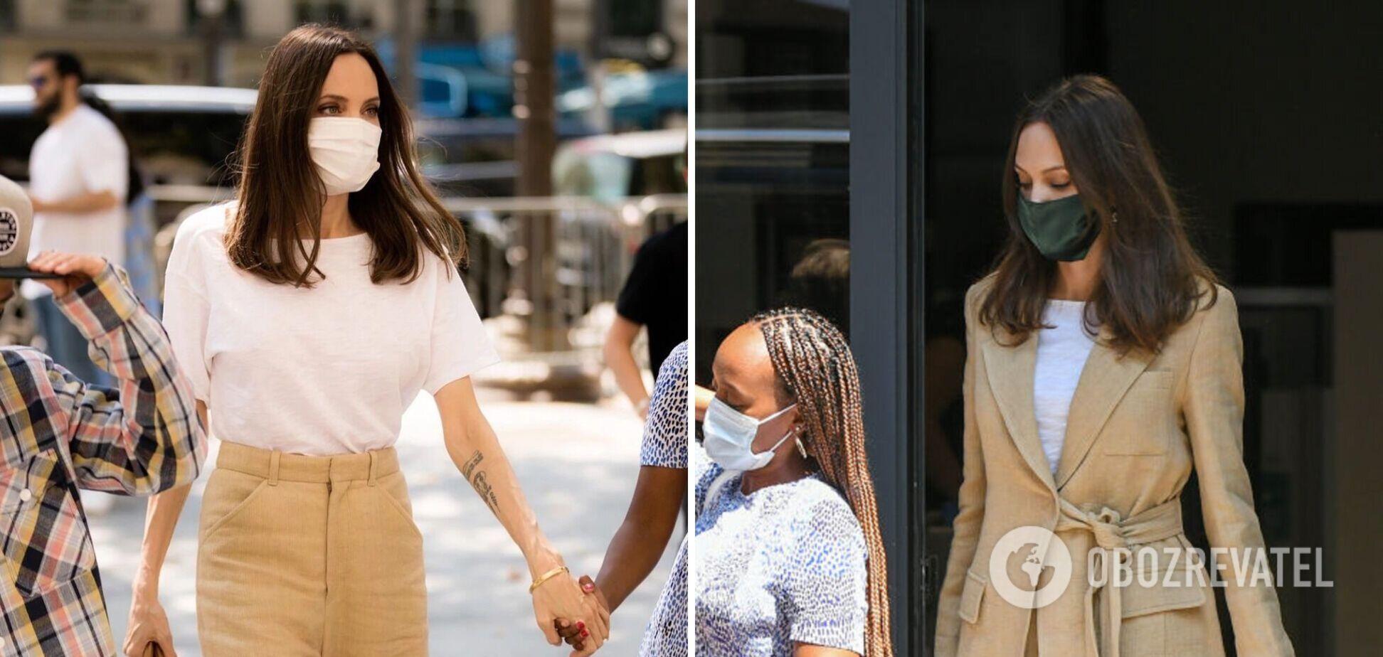 Анджеліна Джолі прогулялася по Парижу в бездоганному лляному костюмі. Фото