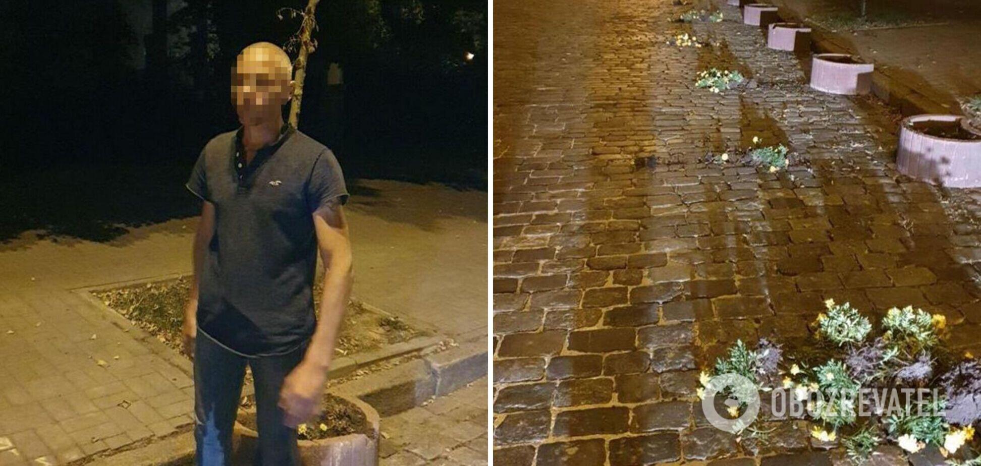 В Киеве мужчина испортил клумбы на аллее