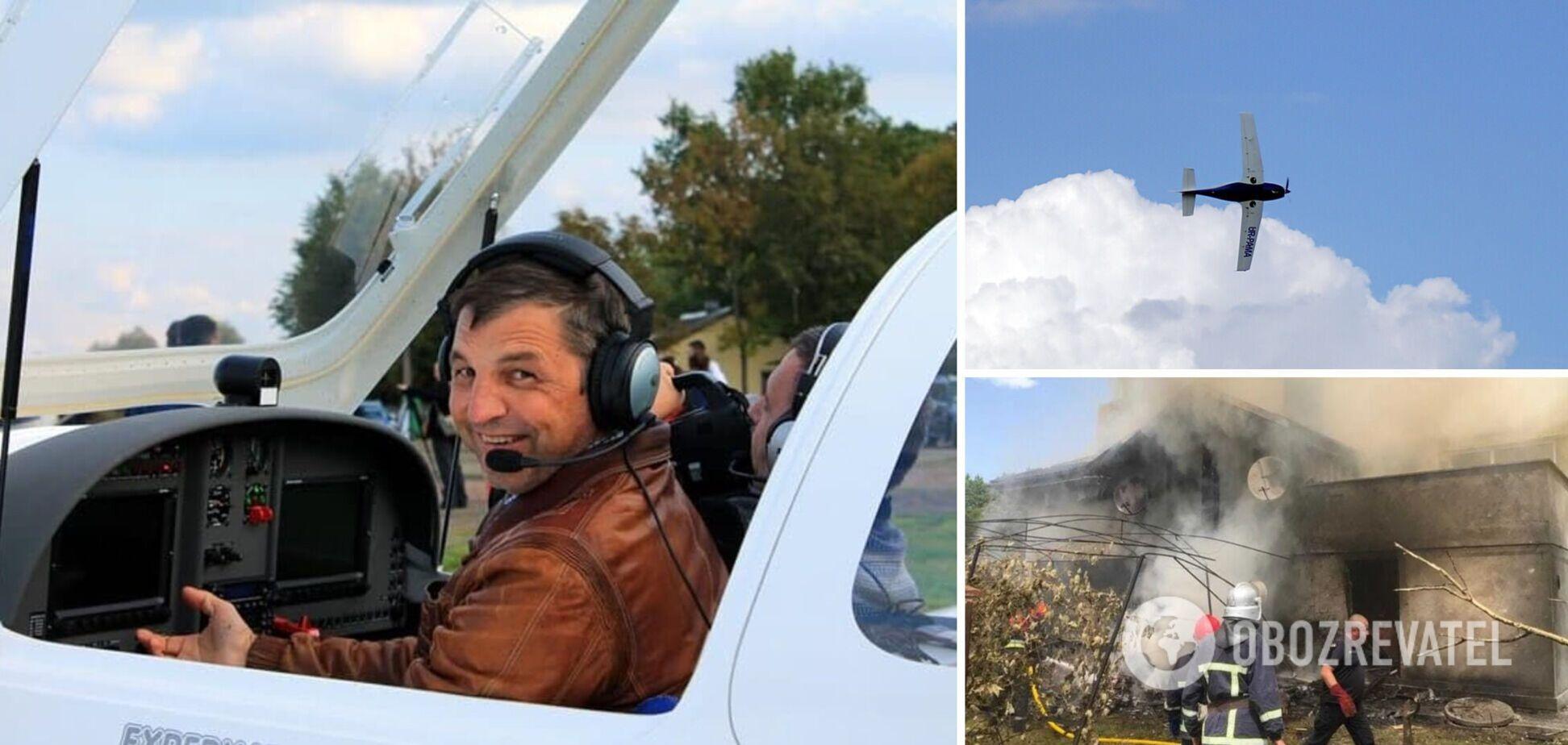 На Прикарпатье легкомоторный самолет упал на дом, в катастрофе погиб легендарный летчик. Фото и видео