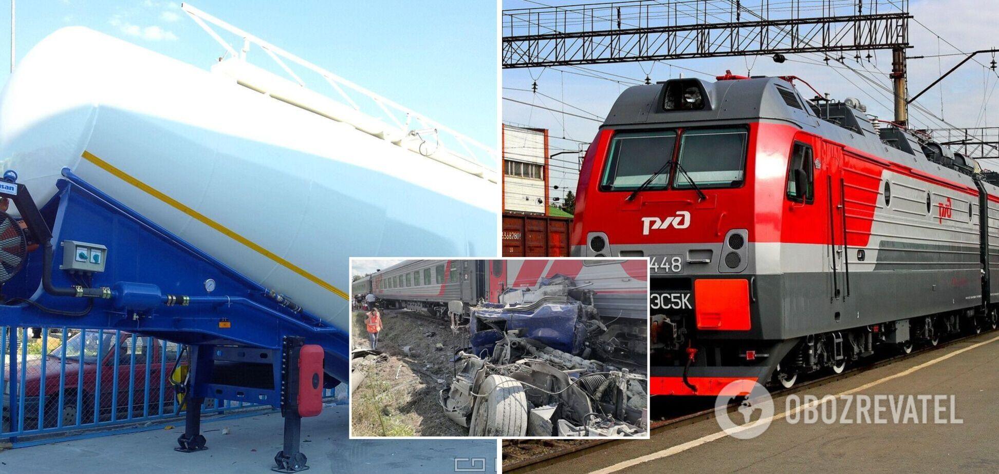 В России поезд раздавил цементовоз и сошел с рельсов: водитель погиб. Фото