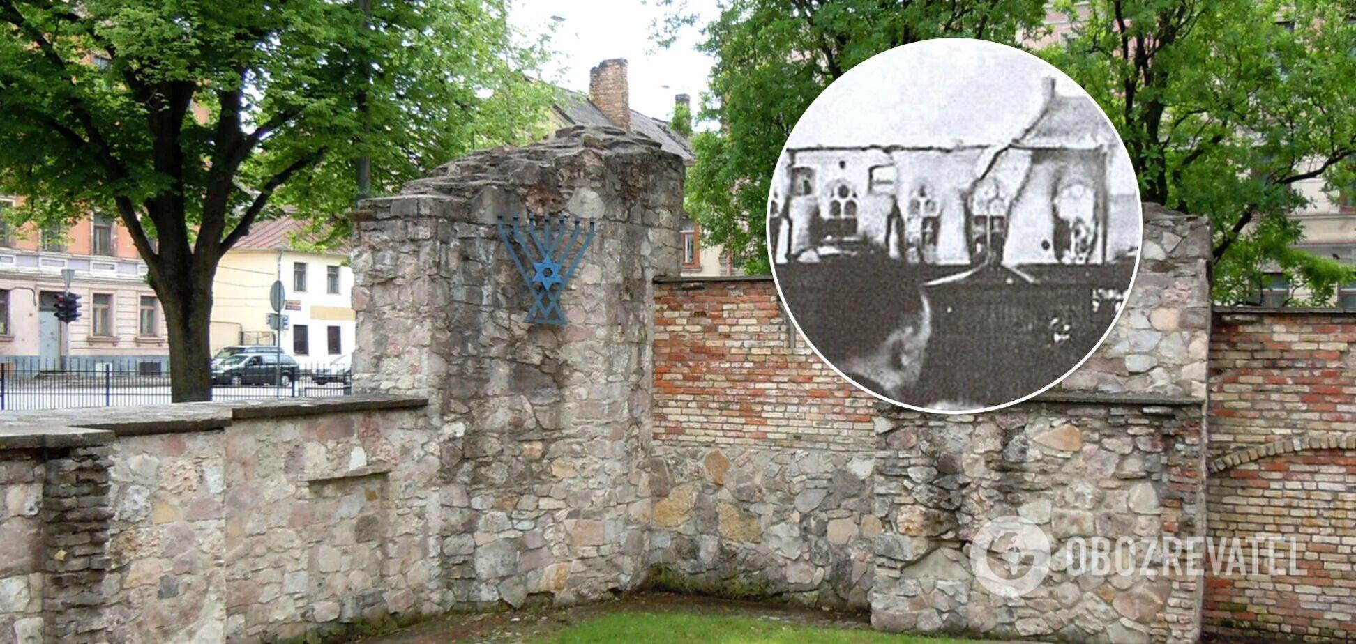 Стена синагоги в Риге, на руинах которой в 2007 году была установлена символическая менора