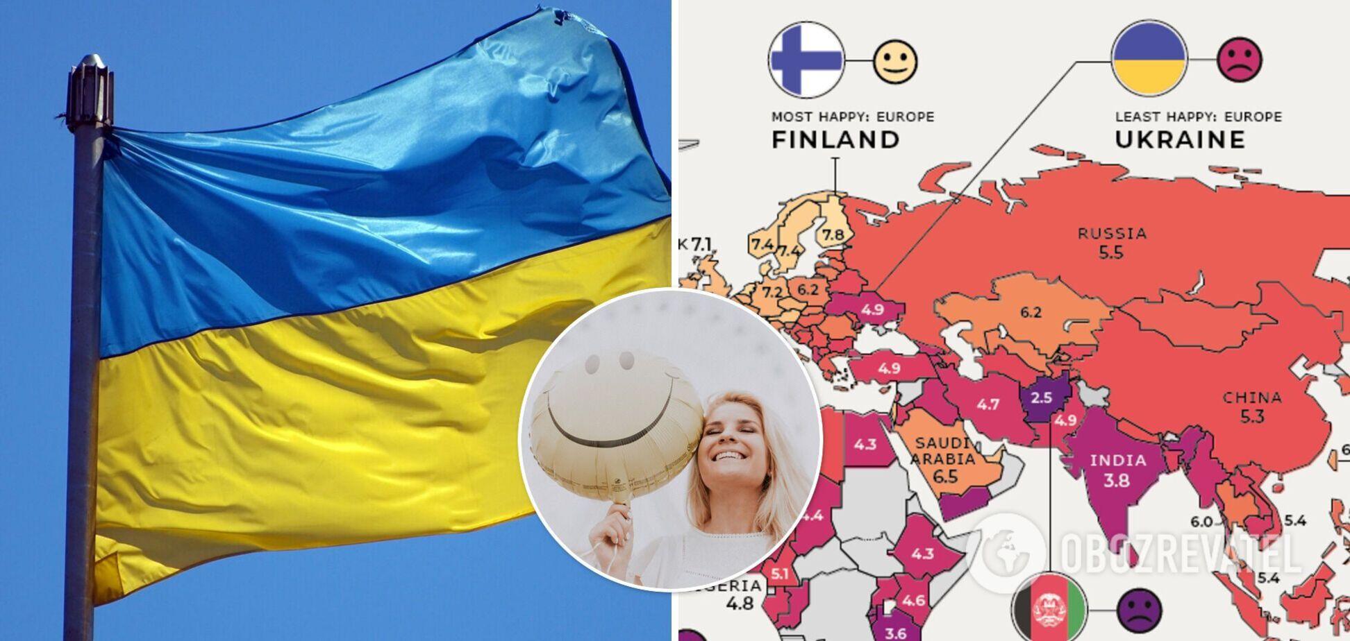 Украина заняла последнее место в рейтинге счастливых стран Европы