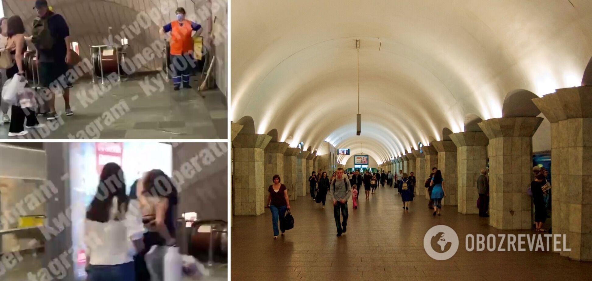 В киевской подземке девушка избила наглеца, который к ней приставал. Видео 18+