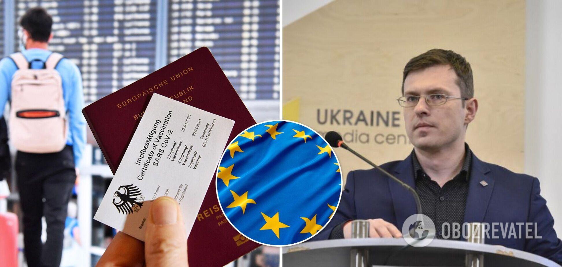 Україна готова до синхронізації ковід-паспортів, усі питання – до ЄС, – Кузін