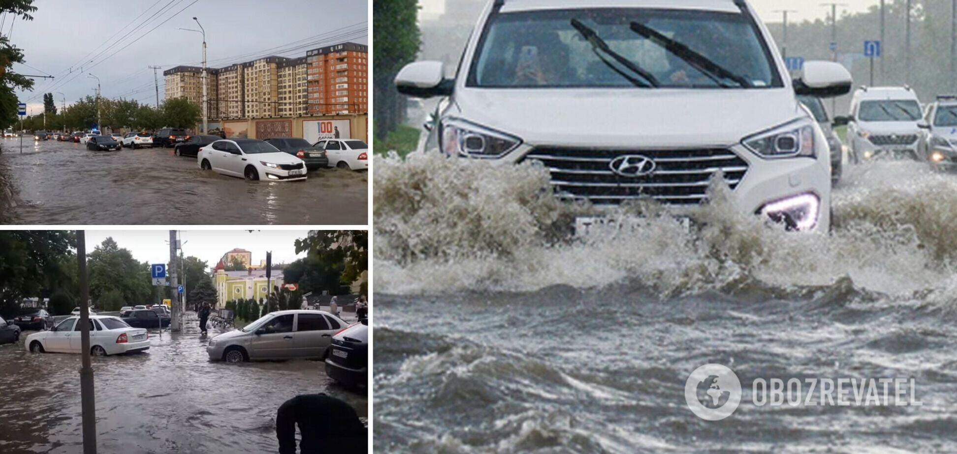 Російську Махачкалу накрила потужна злива, людей і машини відносило потоками води. Відео