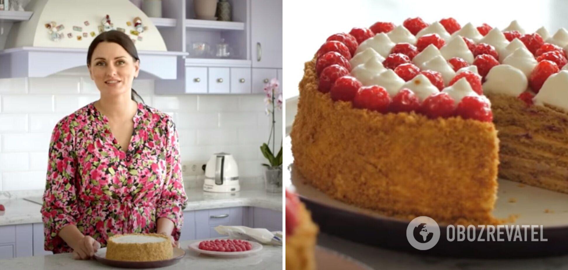 Малиновый торт медовик с заварным кремом: рецепт