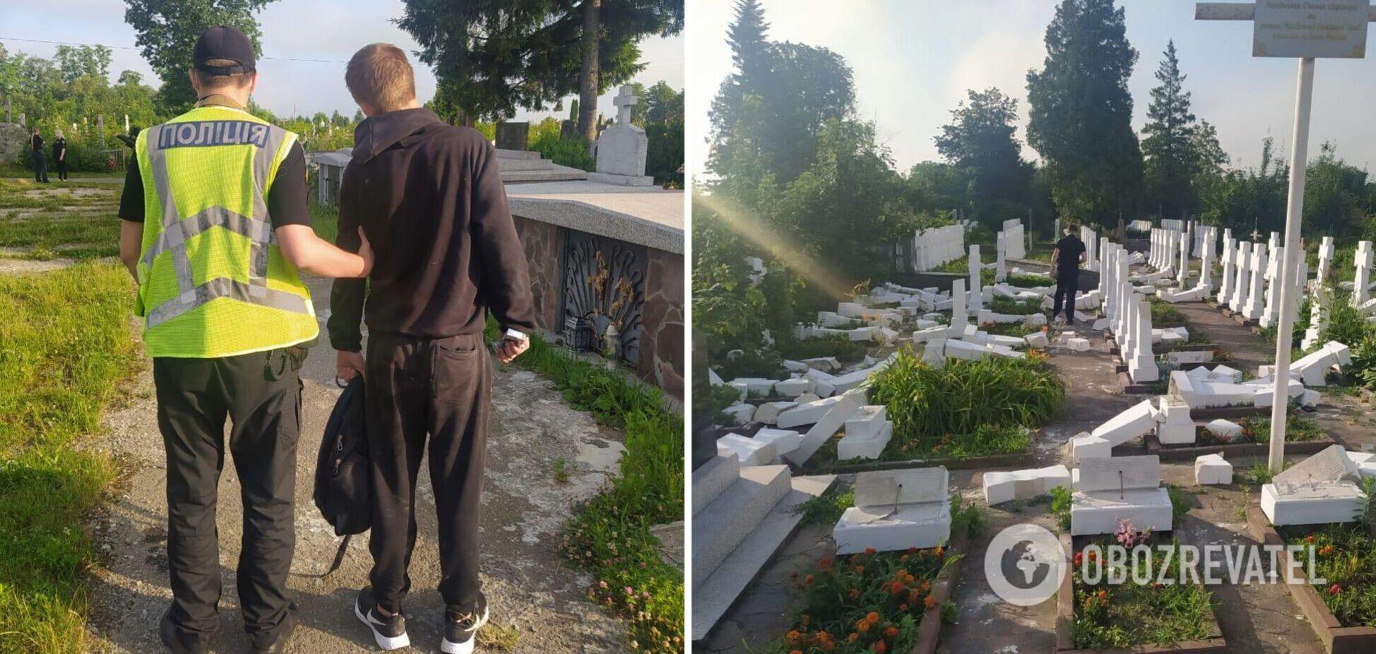 На Львовщине вандал устроил погром на кладбище. Фото