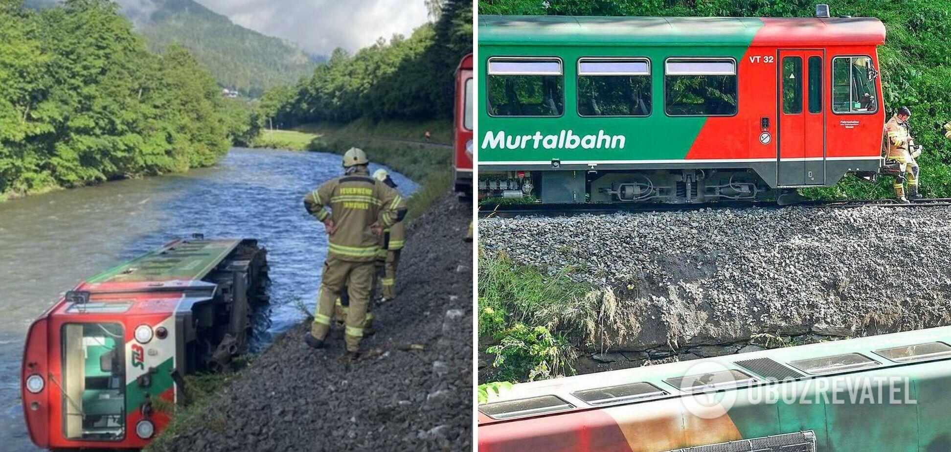 В Австрии электричка сошла с рельсов, вагон с детьми упал в реку. Фото и видео