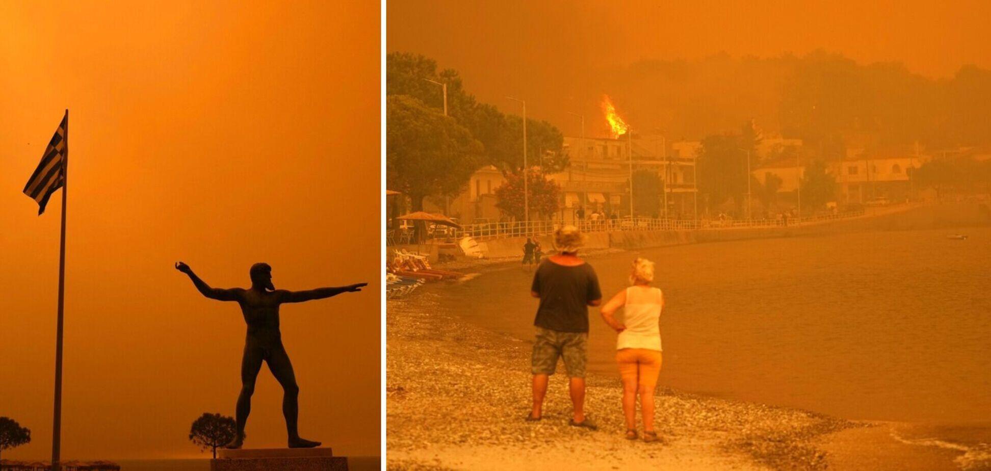 Як українські рятувальники гасять пожежі у Греції
