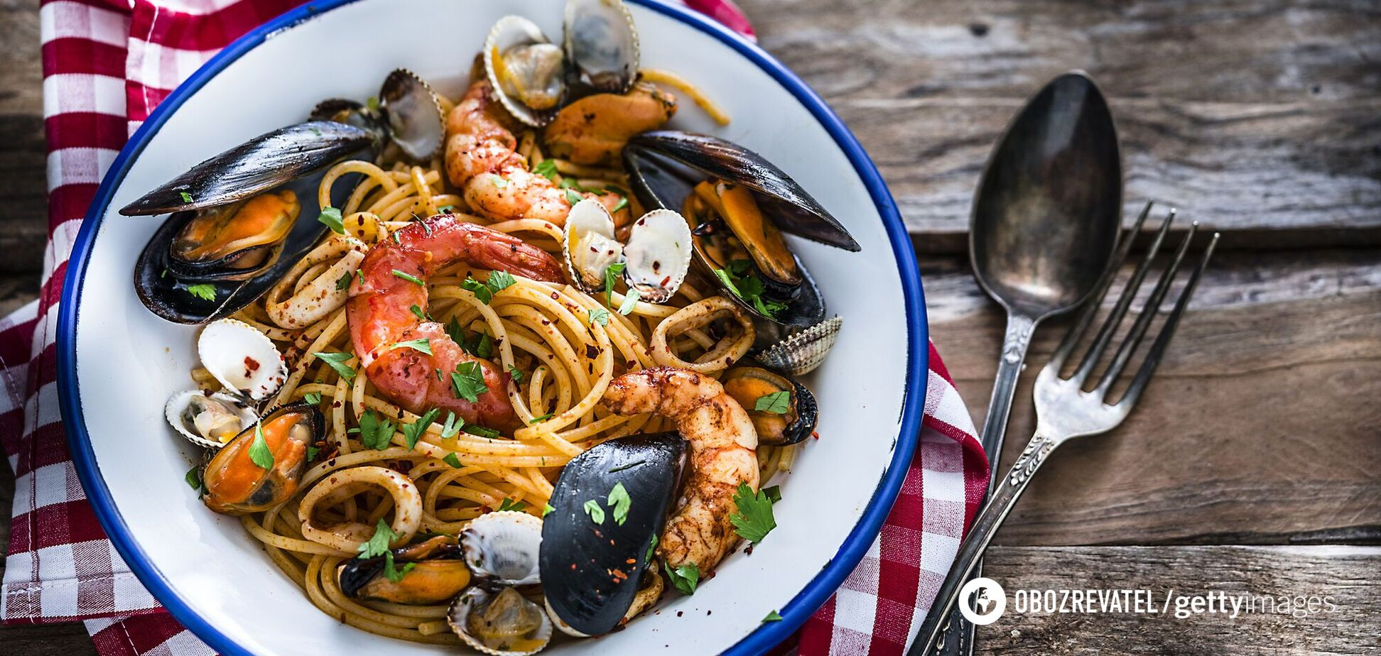 Паста з морепродуктами для вечері