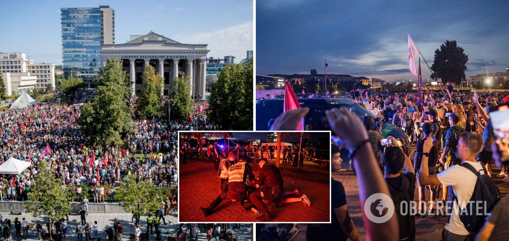 У Литві протести проти обмежень для невакцинованих переросли на сутички з поліцією. Фото та відео