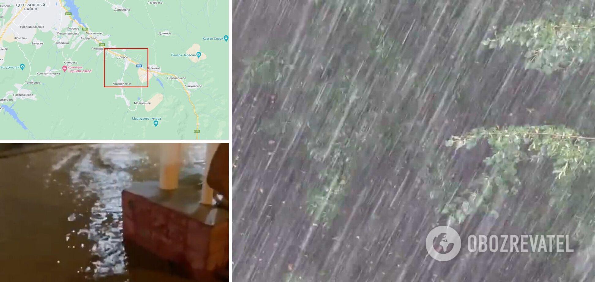 Под Симферополем сильный ливень затопил дома и дорогу на Ялту. Видео