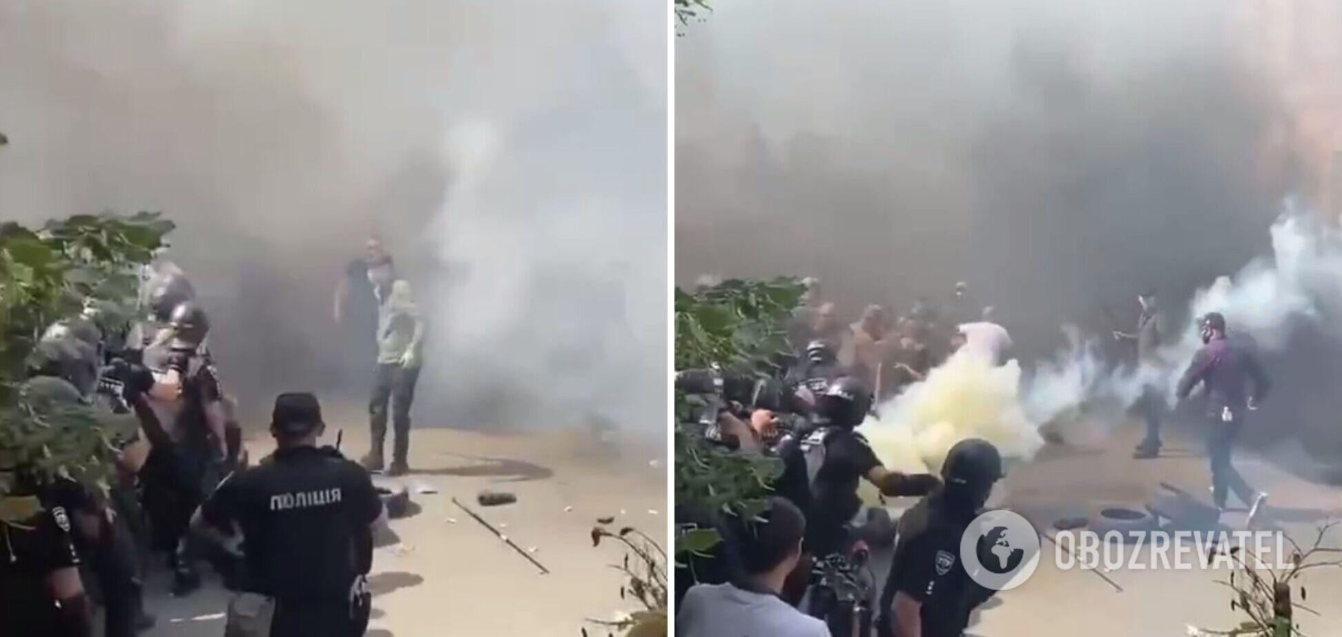 З'явилося відео зіткнень 'Нацкорпусу' з поліцією в Києві